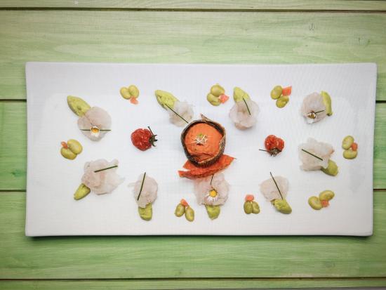 Ristorante Serenella: carpaccio di branzino marinato agli agrumi gelato al pomodoro e crema di fave