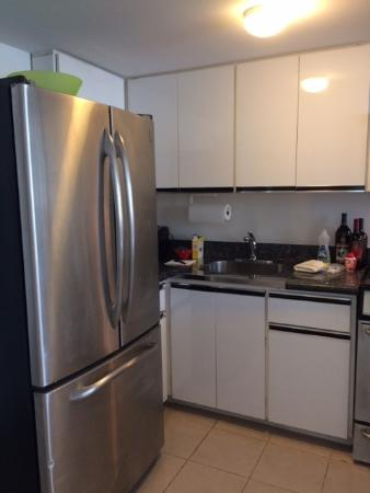 kitchen refrigerator and sink area and a full size coffee pot rh tripadvisor ie