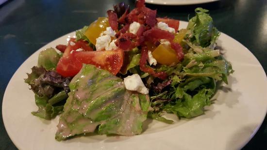 Bigfork, MT: House salad with cottage bacon strips