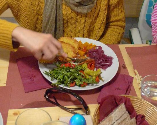 Brez, Italia: Tortel di patate in Versione Vegetariana, l'originale è con gli affettati fatti in casa