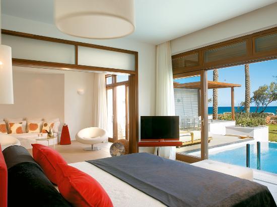 Amirandes, Grecotel Exclusive Resort: Presidential Villa, sea view Master Bedroom, lounges, pool & landscaped gardens