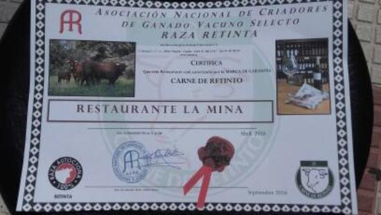 Restaurante La Mina: certificado