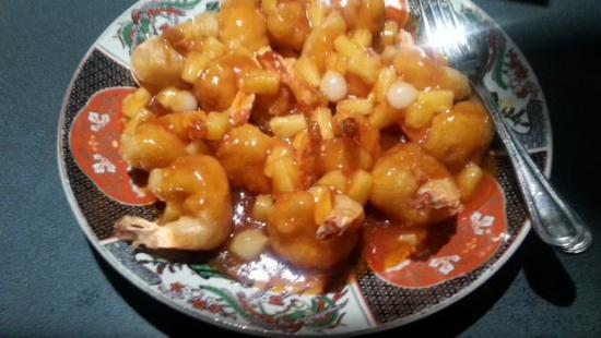 Woluwe-St-Pierre, Bélgica: beignet de scampis sauce aigre douce
