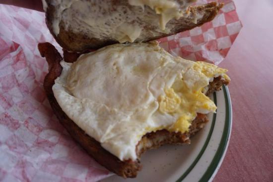 Blondie's Eatery & Gift : Breakfast sandwich $5.99. April 2016. Two REAL eggs, three huge strips of bacon! Fried rye bread
