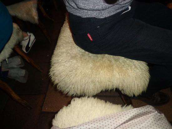 Sgabelli con pelle di pecora picture of koliba u pastyrky