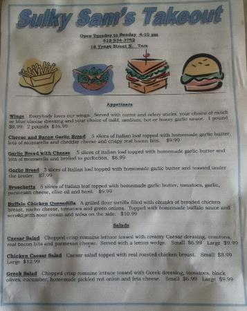Sulky Sam's: Menu - front page