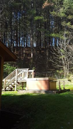 Broadwing Farm Cabins: Outdoor hot tub