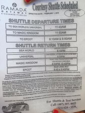 Ramada Kissimmee Gateway: Shuttle Schedule