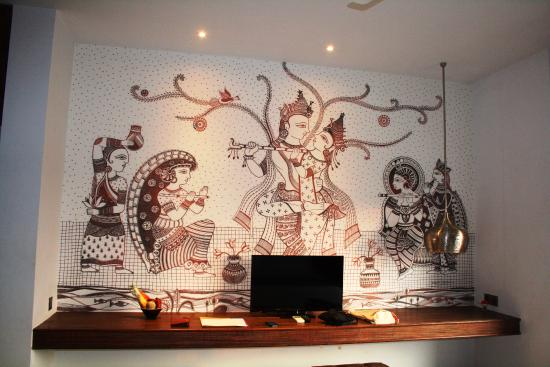 Wall Painting In The Room With Tv And Desk Picture Of Jetwing