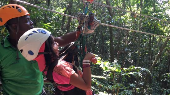 Rainforest Zip Line at Mystic Mountain : 8 year old zip lining