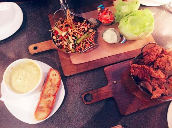 Moxie's Grill & Bar : Broccoli Cheese Soup, Lettuce Wrap, Dry Ribs