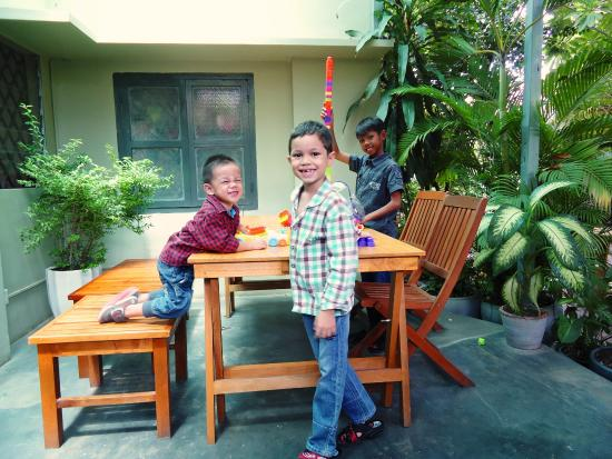 My three sons enjoy playing in the courtyard  - Picture of Le Point