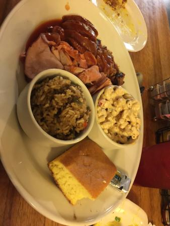 BJ's Nevada Barbecue Company: Fried mac & cheese Meatloaf & hot link , bbq Mac salad, dirty rice Ham, brisket, hot link & same