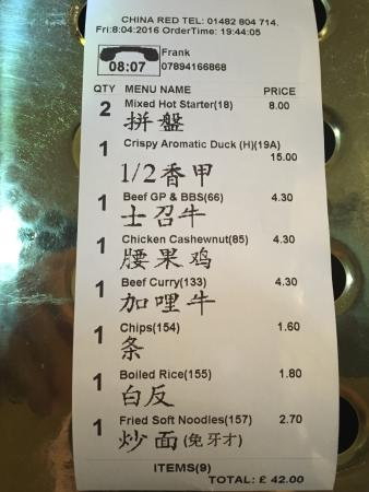 China Red at the Coach and Horses: The Bill £42 for 4 hungry people