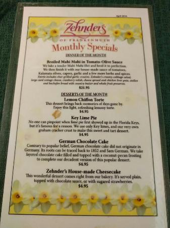 9e1214dc7d43 Menus and Monthly Specials - April - Foto di Zehnder s Restaurant ...