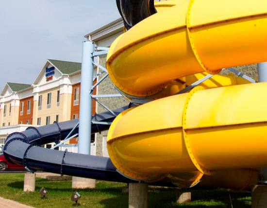 Watervliet, MI: Twirl and whirl on two extreme slides that funnel outside of the park landing you back inside wi