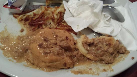Sagle, ID: The absolute worst excuse for bisquits and gravy that I have ever had. Red grease, with some kin