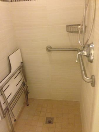 Roll in shower is great for families (chair can be used to sit ...