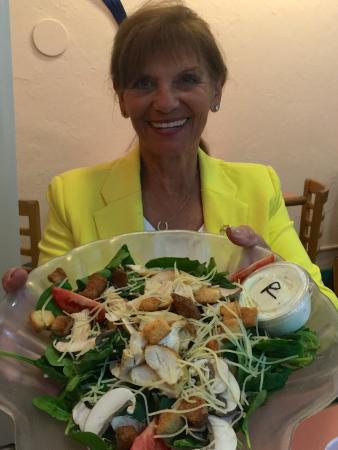 The Barefoot Cafe: delicious salad as shown by our newest book club addition