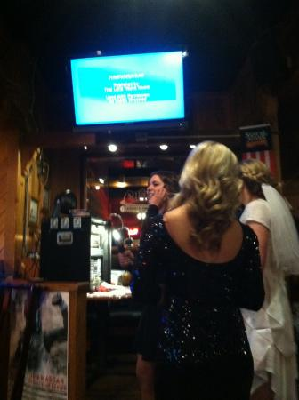 Cheers Good Time Saloons: Trio #2 singing next to our table