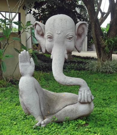 Captivating Ganesh Himal Museum: Intriguing Abstract Design Cement Statue Of Ganesh In  The Garden.