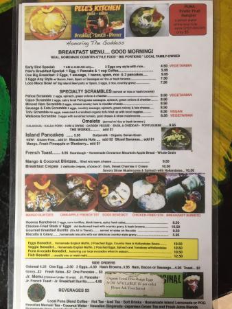 Pele's Kitchen: breakfast menu