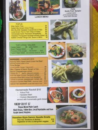 Pele's Kitchen: lunch menu