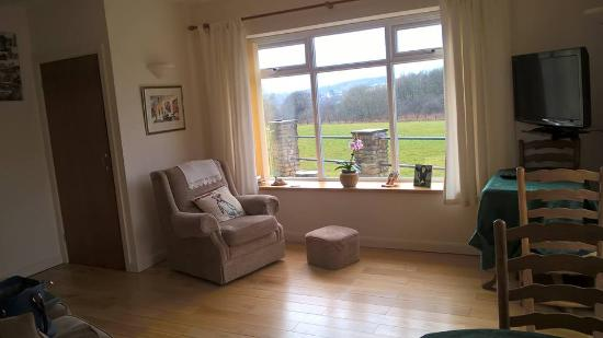 Croftlands Bed and Breakfast: Private seating area - sofa, chair, lovely view of the paddock, kettle and breakfast tables