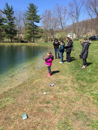 New Holland, PA: Snowy April weekend at Spring Gulch. Campfire, and fishing - had a great time