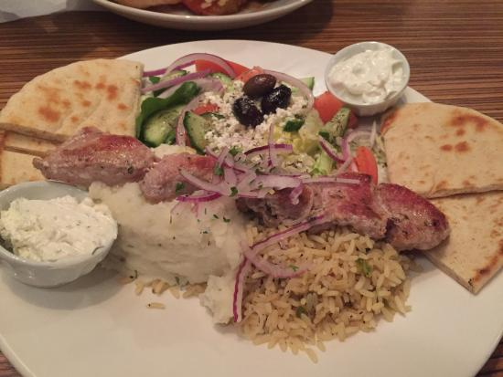 Melizana: Pork souvlaki dinner