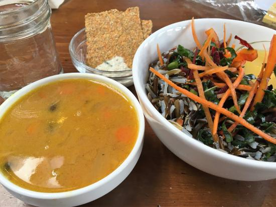 Cafe by Tao: Coconut Lentil Soup with Wild Rice Salad