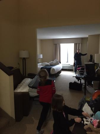 Comfort Suites: Downstairs with king bed and sofa sleeper, fridge, micro and tv