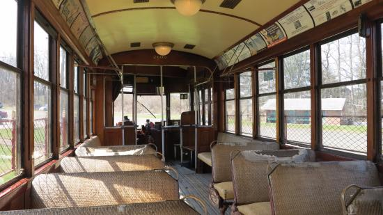 connecticut trolley museum trolley car for ride interior