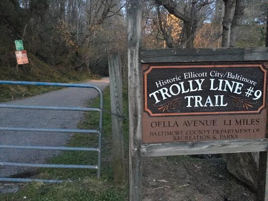 Catonsville, MD: Trolley Trail 9, paved path at dusk
