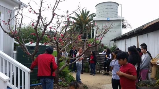 San Juan Capistrano, CA: Tour group at The Ecology Center, giant rain barrel to the left