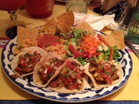 Sanchez Cantina: pork tacos w/pineapple, tomato sauce, salad and rice - YUMMO!!!!!
