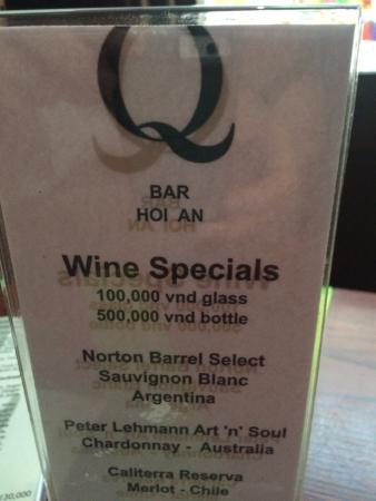 Q Bar: Specials of the day
