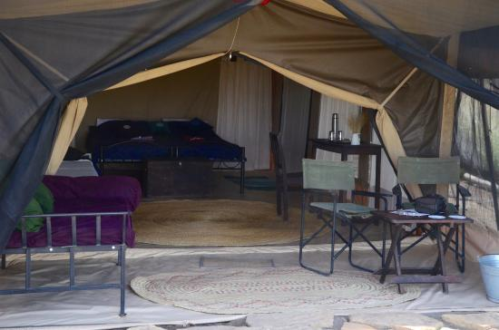 Lake Natron, Tanzania: looking into a tent from the front. Note there is a front verandah that can actually be closed u