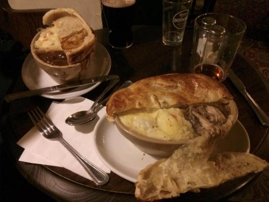 Frampton on Severn, UK: Pie's - Right = Pheasant & rabbit - Left = Steak & Landlord.