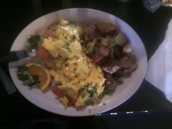 Spitfire Grill: Salmon Eggs Benedict, special ordered scrambled eggs. Yum!