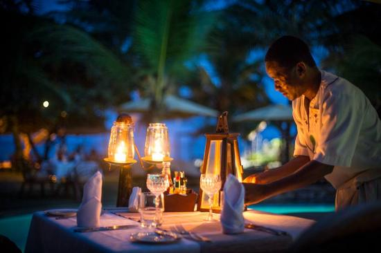Private candlelit dinner at AfroChic Diani