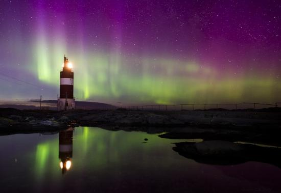 Smola Municipality, Norway: Veiholmen Light Hauggjegla in the Northern Light