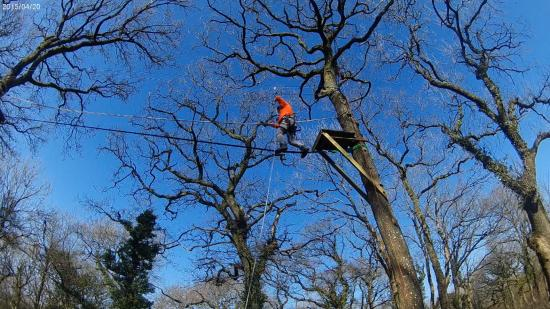 Vale of Glamorgan, UK: 8 metre high slackline tests your senses
