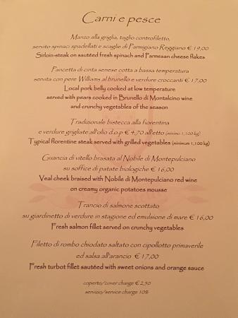 Menu\' Desserts - Picture of La Terrazza del Chiostro, Pienza ...