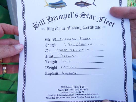 Star Fleet Pesca Deportiva: The official certificate! Thanks Bill, it is framed and on his wall.