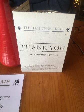 The Potters Arms: Nice menu