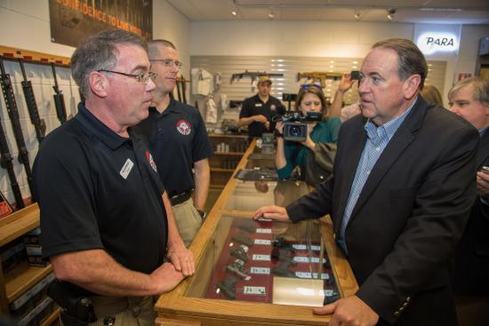 Hudson, NH: Mike Huckabee takes time off the campaign trail to meet with Rick Bishop and Jeff Hiatt