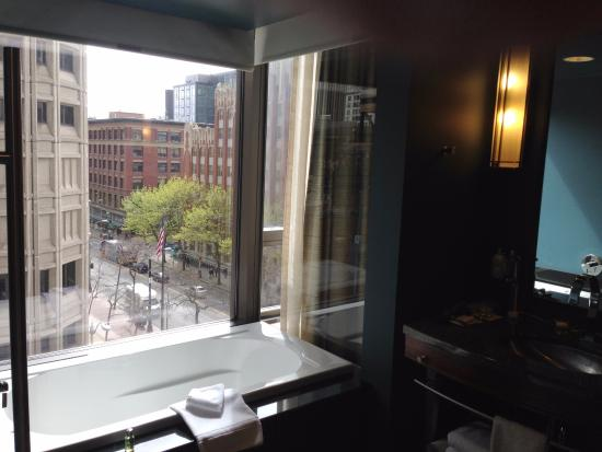 Hotel 1000: Bathroom with lovely views while you brush your teeth or take a bath. Yes, there are shades.