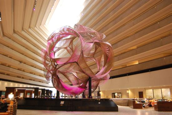 The mulit-colored ball in the atrium, a wonderful site