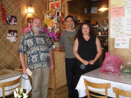 Marnee Thai : My husband and I pose for a picture with a Marnee employee